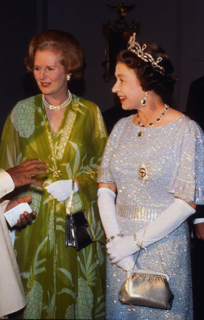 """During a diplomatic reception at Buckingham Palace, then-prime minister Margaret Thatcher felt faint and was forced to sit down for the second year in a row. Elizabeth said to a nearby guest, """"Oh, look! She's keeled over again."""" Princess Margaret was talking to her cousin's husband Denys, a thriller writer, and asked him how his latest book was coming along. Elizabeth entered the room as he responded, """"I desperately need a title."""" She quipped: """"I cannot think of a reason for giving you one."""" After hearing the Everly Brothers perform """"Cathy's Clown"""" in the '60s, the queen turned to her lady-in-waiting: """"They sound like two cats being strangled."""" Elizabeth met guitar legend Eric Clapton at a Buckingham Palace reception in 2005 and asked him, """"Have you been playing a long time?"""""""