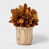 Artificial Hops Arrangement in Wooden Pot in Brown/White