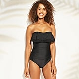 Crochet Flounce Bandeau One-Piece Swimsuit