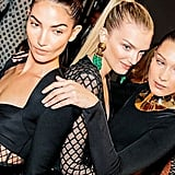Lily Aldridge, Lily Donaldson, and Bella Hadid cozied up for the camera before the show.