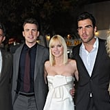 Blythe Danner, Zachary Quinto, Anna Faris, Dave Annable, and Chris Evans on the red carpet.