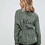 To Be Adored Bibiana Silk Leopard Print Emroidered Neck Belt Pyjama Shirt