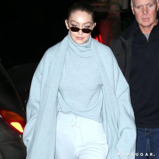 Gigi Hadid Wearing a Light Blue Coat