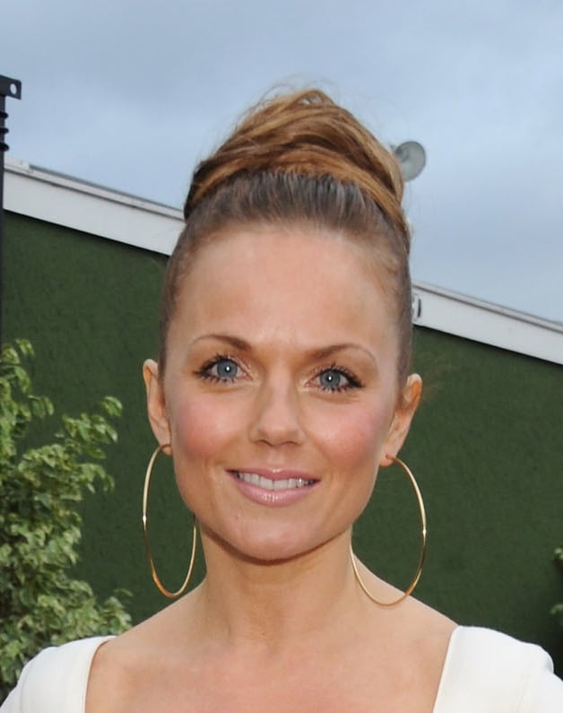 Geri Halliwell with twisted bun hair do, and how to get the look, at BellaSugar UK