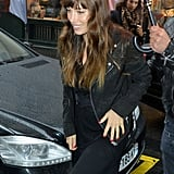 Jessica Biel smiled as she walked into her Paris hotel.