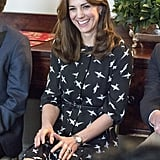 For an engagement while she was pregnant with Princess Charlotte, Kate wore an $89 bird-print design from Jonathan Saunders for Debenhams.