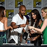 Pictured: Lindsey Morgan, Ricky Whittle, Marie Avgeropoulos and Eliza Taylor.