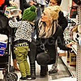 Gwen Stefani shopping at Sears with Kingston and Zuma Rossdale.