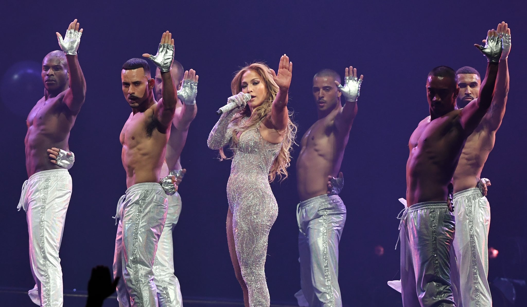 LAS VEGAS, NEVADA - JUNE 15:  Jennifer Lopez (C) performs with dancers during a stop of her It's My Party tour at T-Mobile Arena on June 15, 2019 in Las Vegas, Nevada.  (Photo by Ethan Miller/Getty Images for ABA)