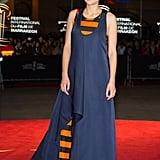 Marion Cotillard in Striped Dior Haute Couture Dress