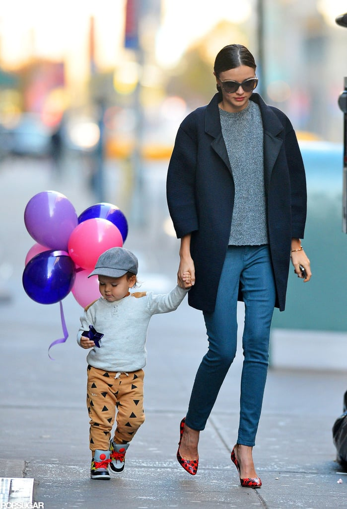 Miranda Kerr held Flynn Bloom's hand for a walk in NYC.