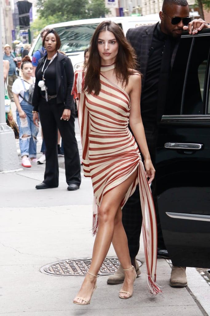 Emily Ratajkowski in Monse Striped Dress Pictures June 2019