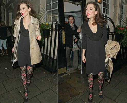 Photos of Anna Friel in Floral Tights Leaving Theatre