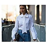 Pair a Structured, Feminine Top With Casual Denim