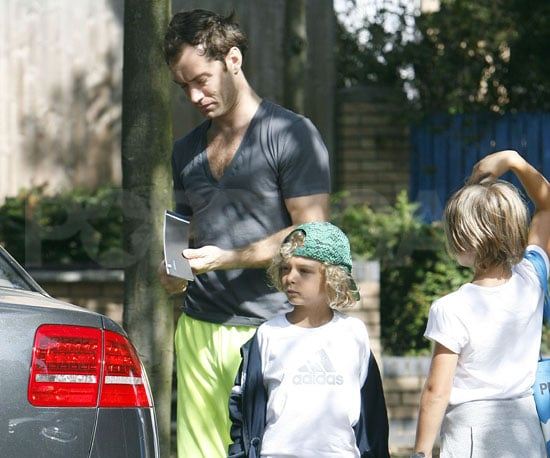 Photo Slide of Jude Law And His Son Rafferty Heading to Tennis Lessons in London
