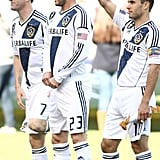 David Beckham is cheered on by his sons during the LA Galaxy home game.