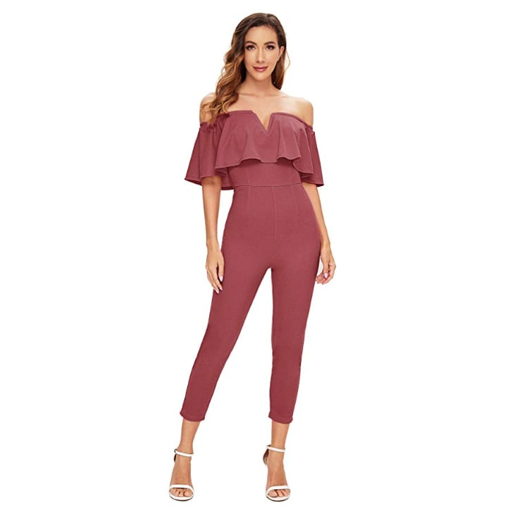 Verdusa Elegant Off Shoulder Ruffle High Waist Jumpsuit