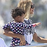 Beyoncé hopped aboard a yacht with Blue Ivy in Ibiza on Monday.