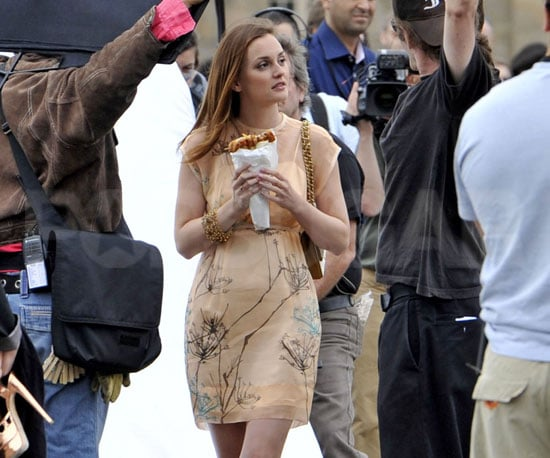 Slide Picture of Leighton Meester Filming Gossip Girl in Paris