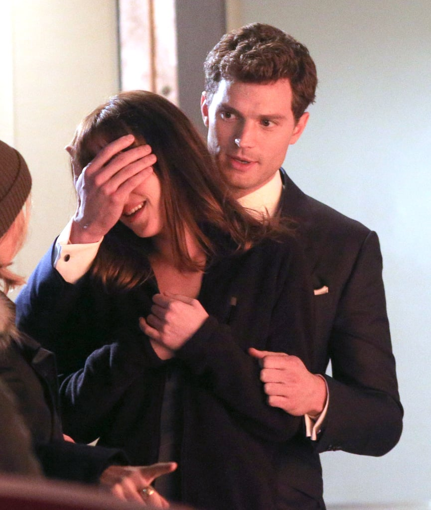 Dornan covered Johnson's eyes in another infamous scene, as he gives her the Audi.