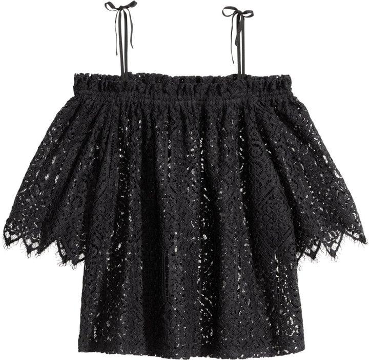 80bce18688db47 H&M Lace Off-the-shoulder Blouse - Black - Ladies ($50) | Tops For ...