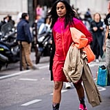 Go for the full-on sportif look in a coordinating tracksuit, then pare it down with a clutch and a trench coat.