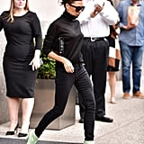 Victoria Beckham Mint Boots at the Airport