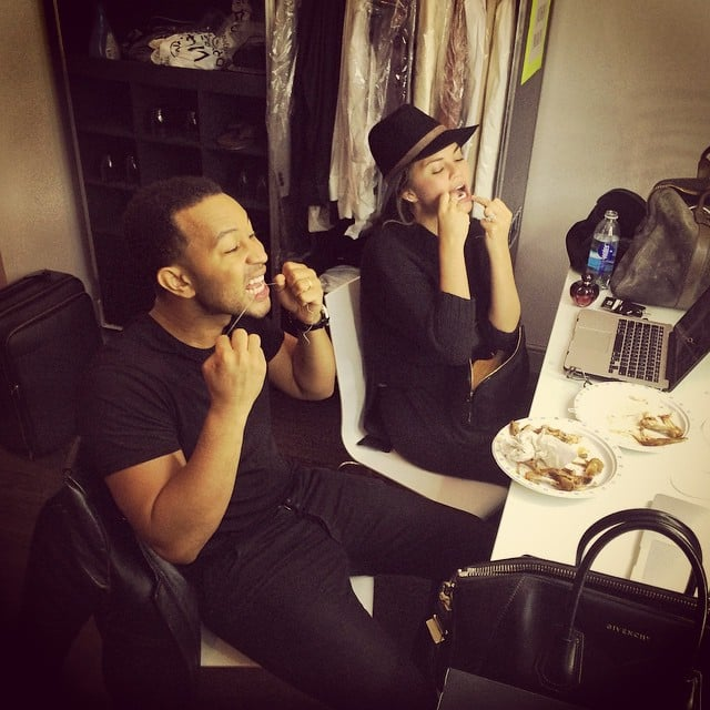 Chrissy and John flossed together backstage after a big meal in Birmingham, England, in October 2014.