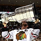 Chicago Blackhawks captain Jonathan Toews kissed the Stanley Cup after his team beat the Boston Bruins for the championship.