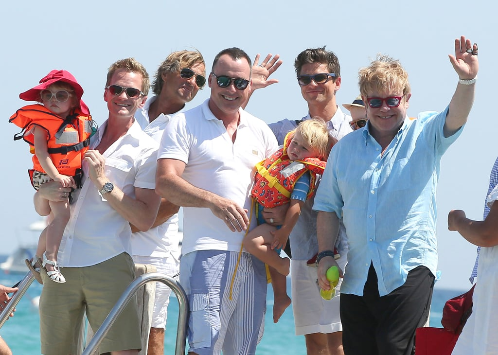 Elton John, David Furnish, Neil Patrick Harris, David Burtka, and their kids arrived in Saint-Tropez.