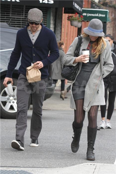 Blake Lively, who wore a dress by Twenty8Twelve, and Ryan Reynolds each had a coffee in hand as they walked around NYC on Saturday. The couple apparently met up with Blake's sister Robyn and her husband, Bart, for breakfast at The Stanton Social, where they were spotted sharing doughnuts and muffins. It wasn't Ryan's first interaction with Blake's family since the duo spent Thanksgiving weekend at Robyn and Bart's bed and breakfast near Park City, UT. Ryan and Blake kissed and cuddled outside during the romantic trip, but the affection didn't end there since they were since spotted on a sweet date night in Connecticut. They split up for a few days last week so that Blake could get back to work on Gossip Girl and make a solo trip to the new Apple store in Grand Central Terminal, though once the weekend hit Blake and Ryan were back by each other's sides.