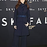 For the Skyfall Germany photocall, Bérénice Marlohe donned a navy Ports 1961 coat and matching trousers.