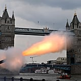 A 62-round royal gun salute was fired outside the Tower of London to celebrate the birth of the royal baby.