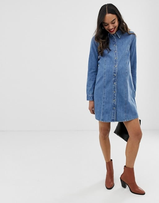 ASOS DESIGN Maternity denim fitted western shirt dress in midwash blue | ASOS