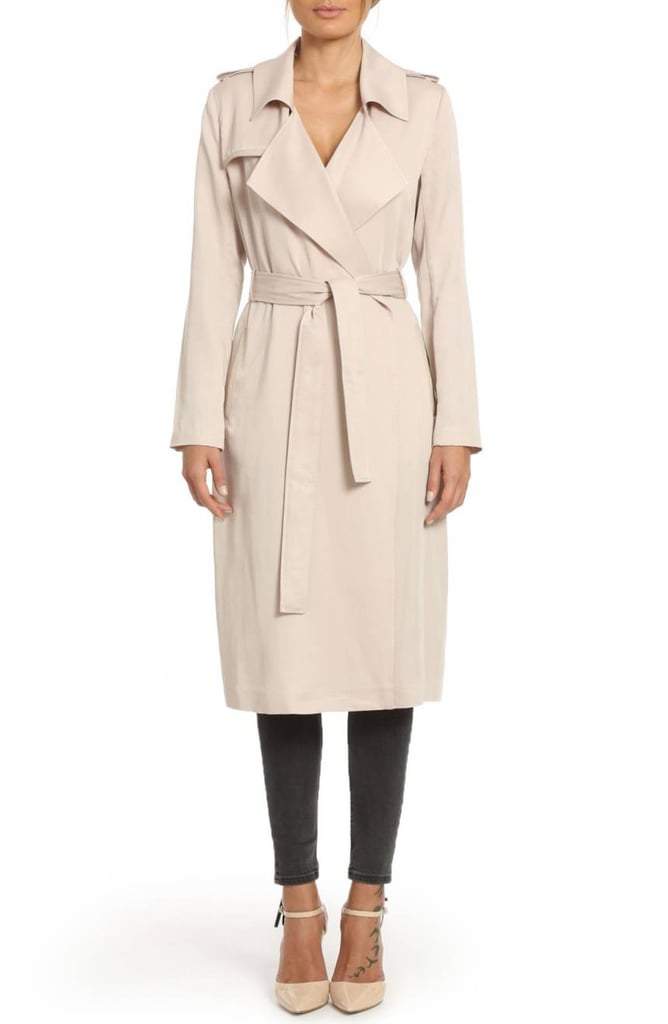 ee53bd62eef Badgley Mischka Faux Leather Trim Long Trench Coat | Burberry Trench ...
