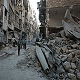 The damage after an airstrike in a rebel-held area of Aleppo.