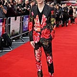 The red carpet at the UK premiere of Beautiful Boy nicely complemented Timothée's floral Alexander McQueen suit.