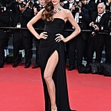 Izabel Goulart didn't shy away from a high-impact red carpet appearance and opted for this ultraglam Emilio Pucci gown with a thigh-high slit.
