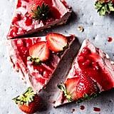 Vegan Strawberry Ripple Almond Cheesecake