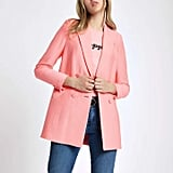 River Island Pink Textured Double Breasted Blazer
