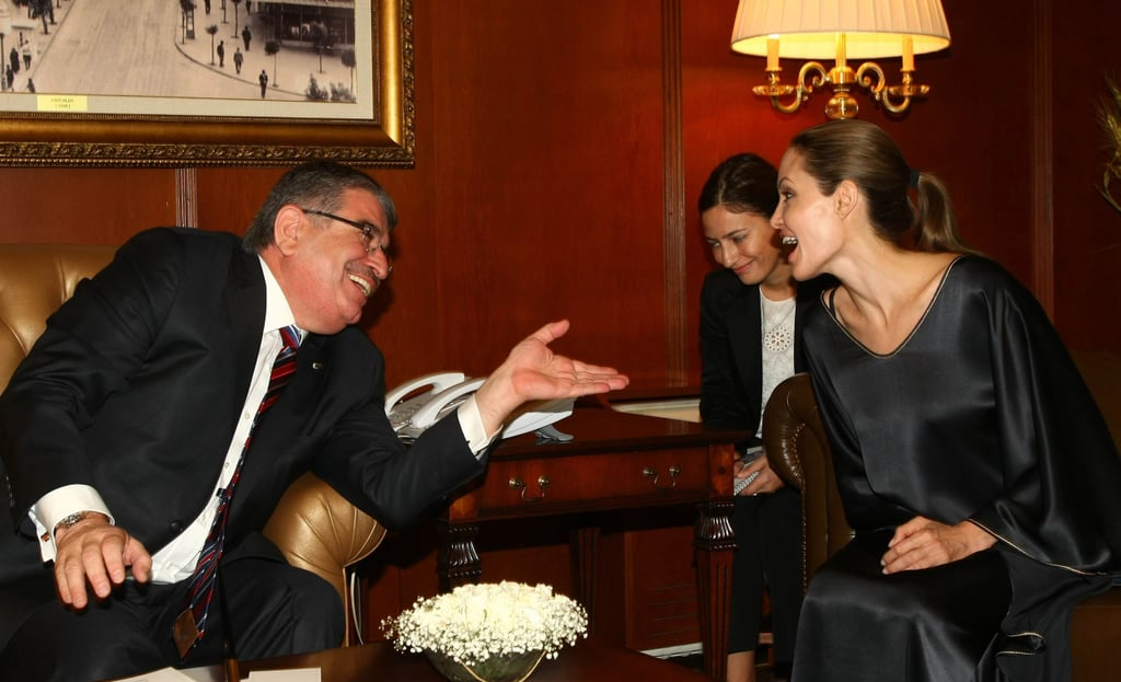 Angelina Jolie enjoyed a conversation.