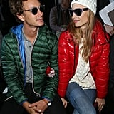 Pierre and Beatrice kept warm at Paris Fashion Week in March 2015.