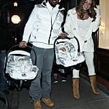 Nick Cannon and Mariah Carey were accompanied by their twins, Moroccan Cannon and Monroe Cannon, for a New Year's celebration while on vacation in Aspen in December 2011.
