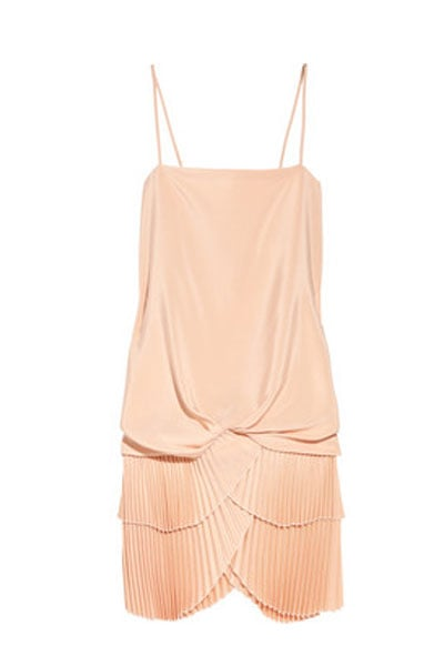 Javanaise Pleated Brushed-Silk Dress