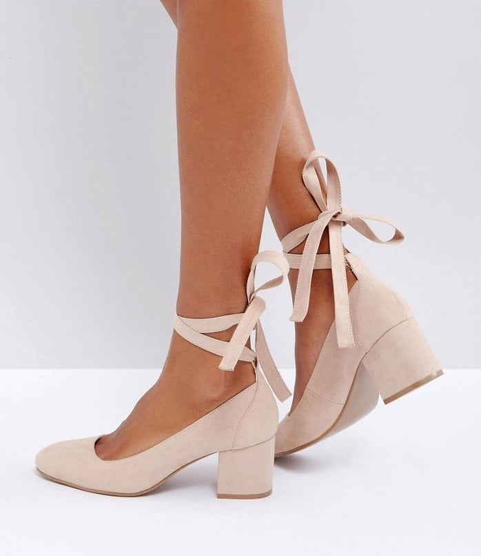 Wide Fit Pointed High Heels - Beige patent London Rebel 4RngBv1g