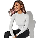 Vylette Heather Rib Mock Neck Top