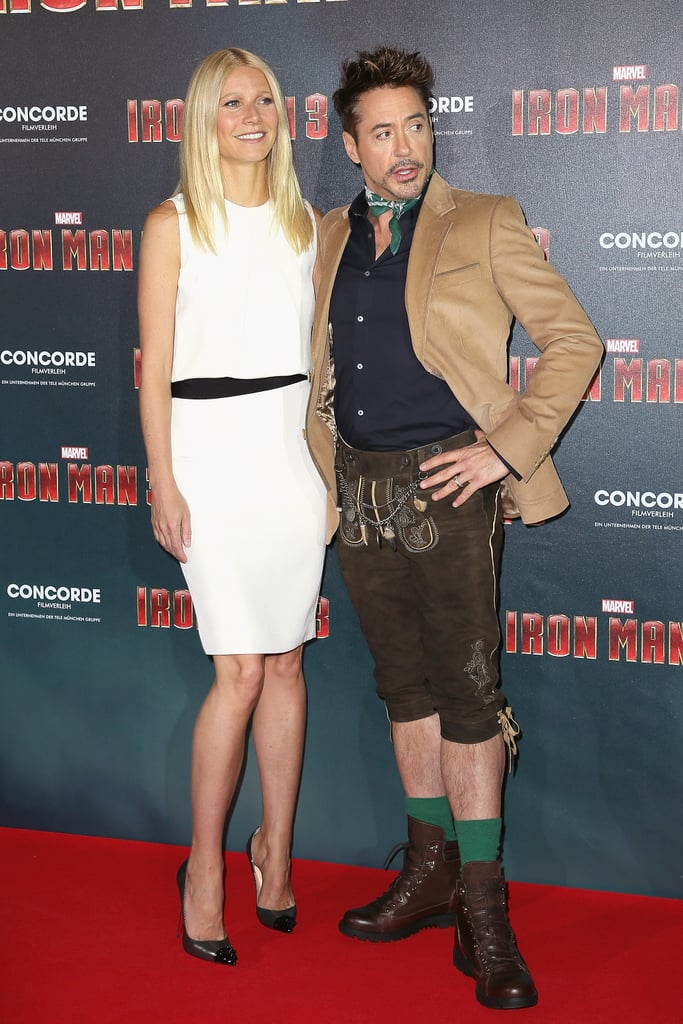 Gwyneth Paltrow joined Robert Downey Jr. in Munich for an Iron Man 3 photocall.