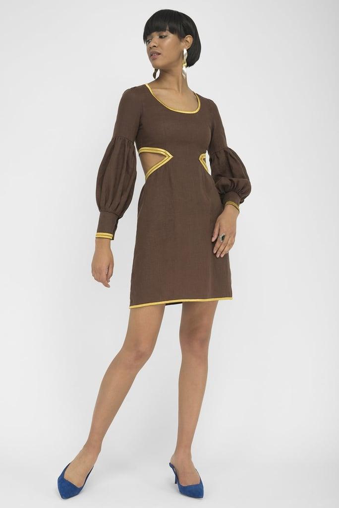 FANM MON LVIV Expresso Linen Side and Back Open Detail Mini Dress
