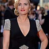 Kate Winslet looked stunning in her black v-neck stress with studded sleeves at the world premiere of Titanic 3D in London.