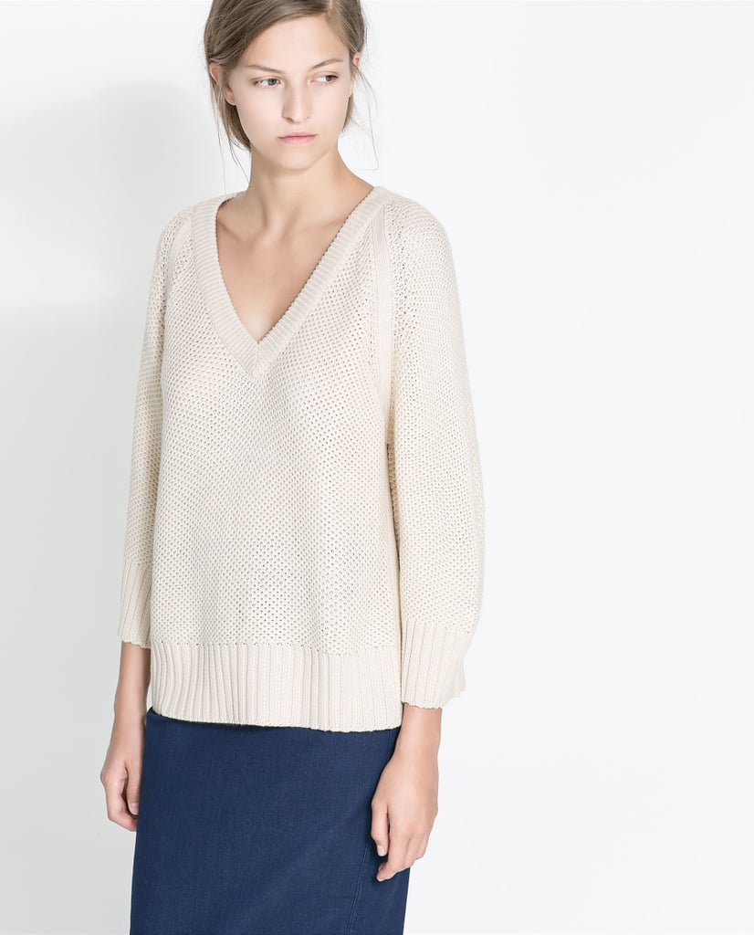 Your perfect everyday sweater found: Zara wide-knit sweater ($26).